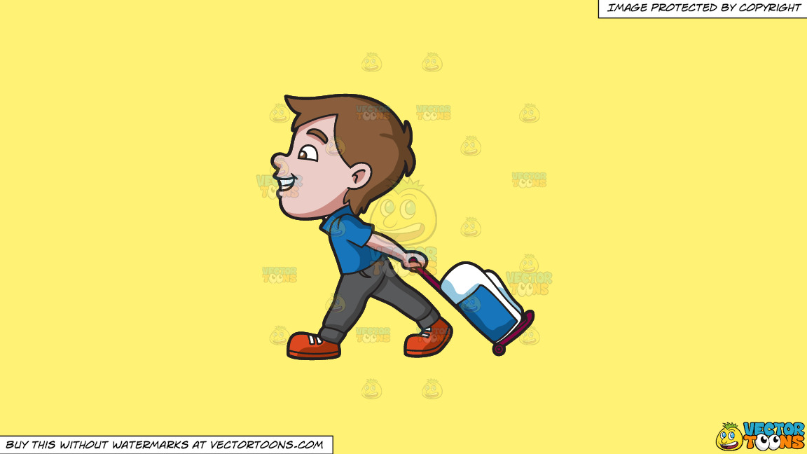 A Boy Happily Pulling His Luggage On A Solid Sunny Yellow Fff275 Background thumbnail