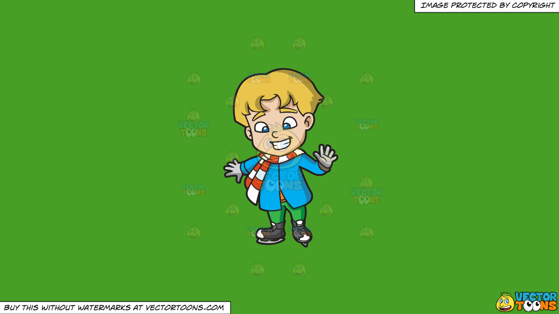 A Boy Learning How To Ice Skate On A Solid Kelly Green 47a025 Background thumbnail