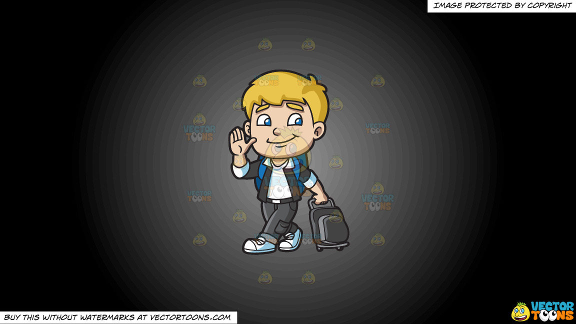A Boy Leaving For The Airport On A Grey And Black Gradient Background thumbnail
