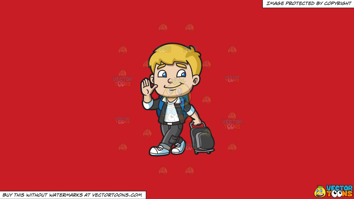 A Boy Leaving For The Airport On A Solid Fire Engine Red C81d25 Background thumbnail