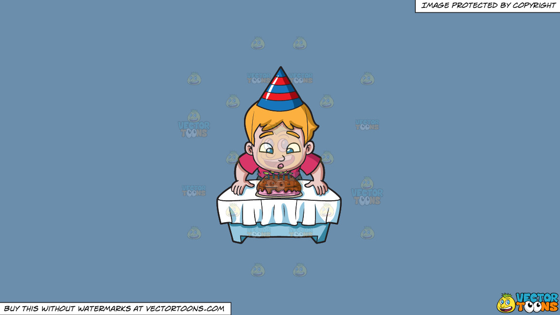 A Boy Makes A Wish Before Blowing His Cake On A Solid Shadow Blue 6c8ead Background thumbnail