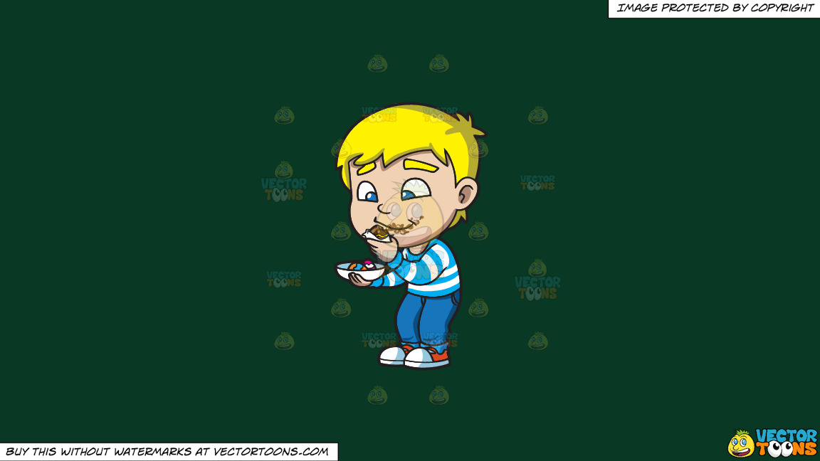 A Boy Messily Eats Some Easter Egg Chocolates On A Solid Dark Green 093824 Background thumbnail