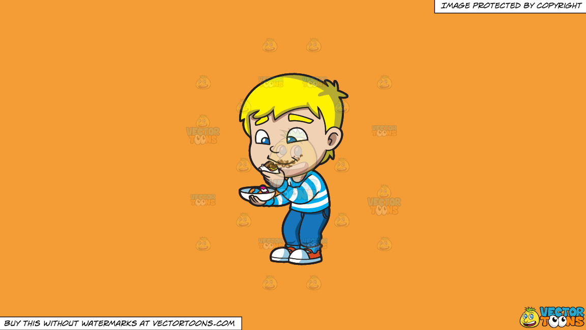 A Boy Messily Eats Some Easter Egg Chocolates On A Solid Deep Saffron Gold F49d37 Background thumbnail