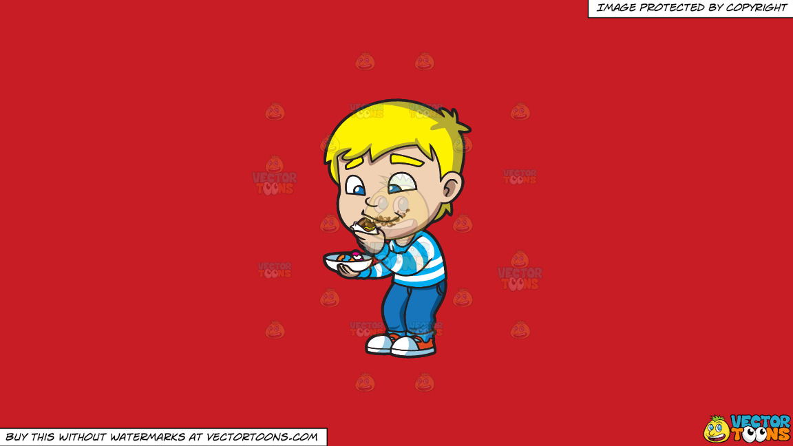A Boy Messily Eats Some Easter Egg Chocolates On A Solid Fire Engine Red C81d25 Background thumbnail