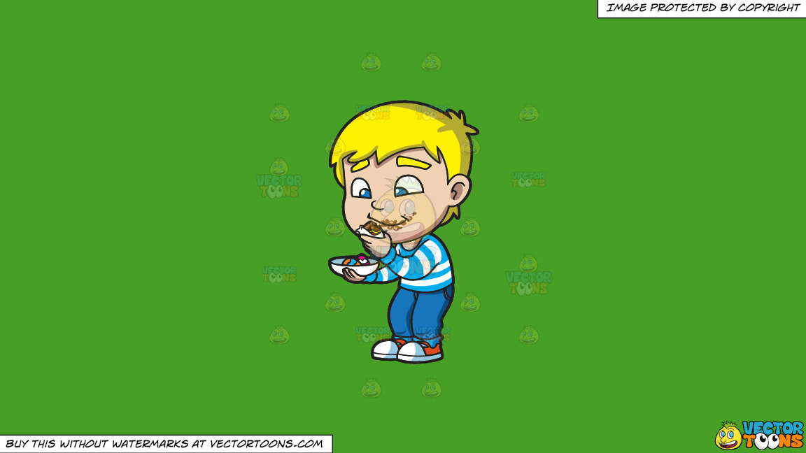 A Boy Messily Eats Some Easter Egg Chocolates On A Solid Kelly Green 47a025 Background thumbnail