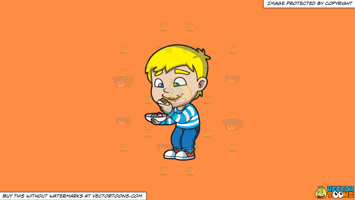 A Boy Messily Eats Some Easter Egg Chocolates On A Solid Mango Orange Ff8c42 Background thumbnail