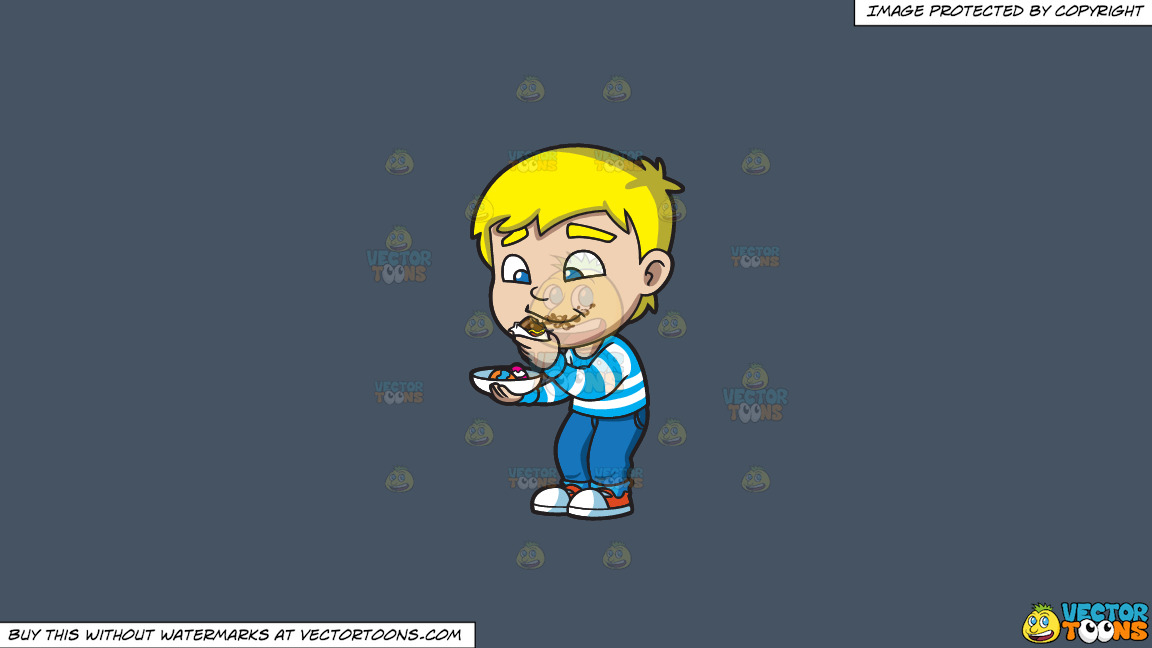 A Boy Messily Eats Some Easter Egg Chocolates On A Solid Metal Grey 465362 Background thumbnail