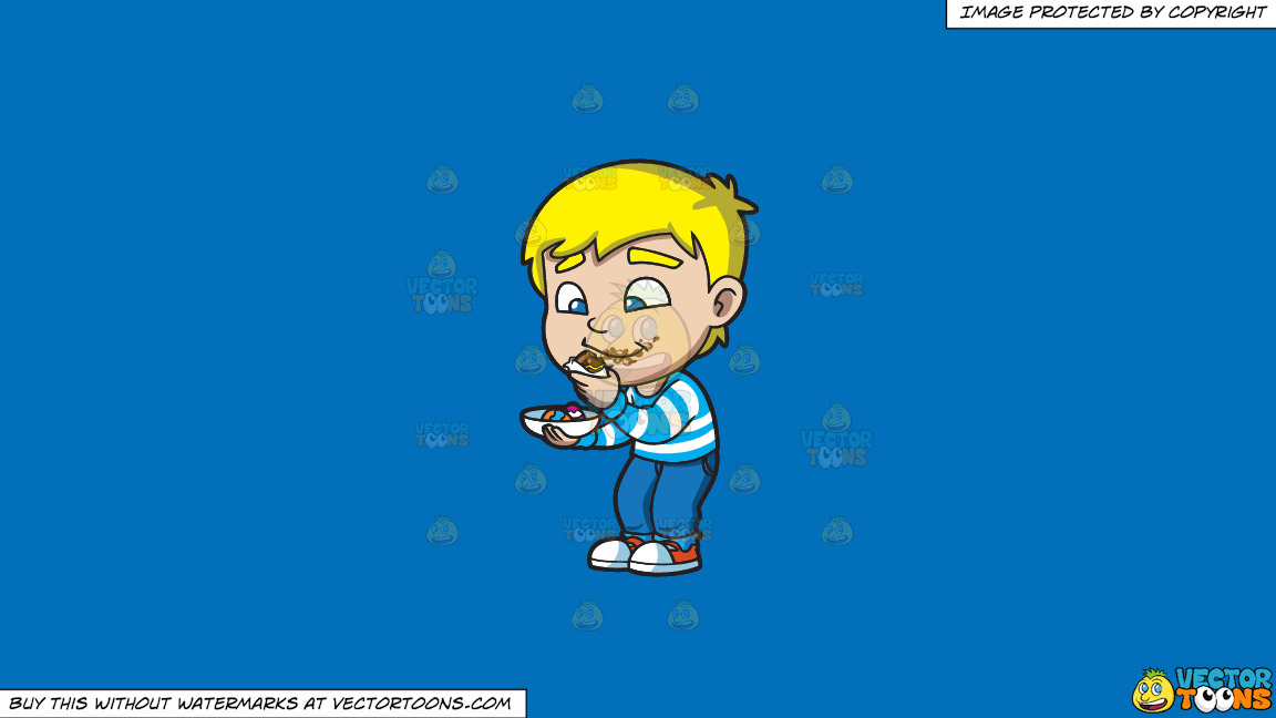 A Boy Messily Eats Some Easter Egg Chocolates On A Solid Spanish Blue 016fb9 Background thumbnail