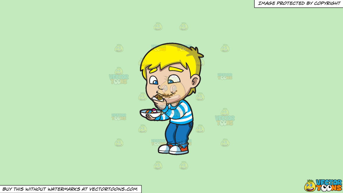 A Boy Messily Eats Some Easter Egg Chocolates On A Solid Tea Green C2eabd Background thumbnail