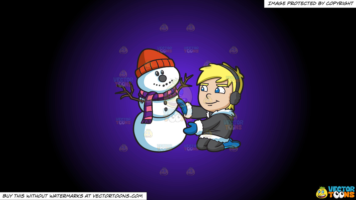 A Boy Molding A Snowman On A Purple And Black Gradient Background thumbnail
