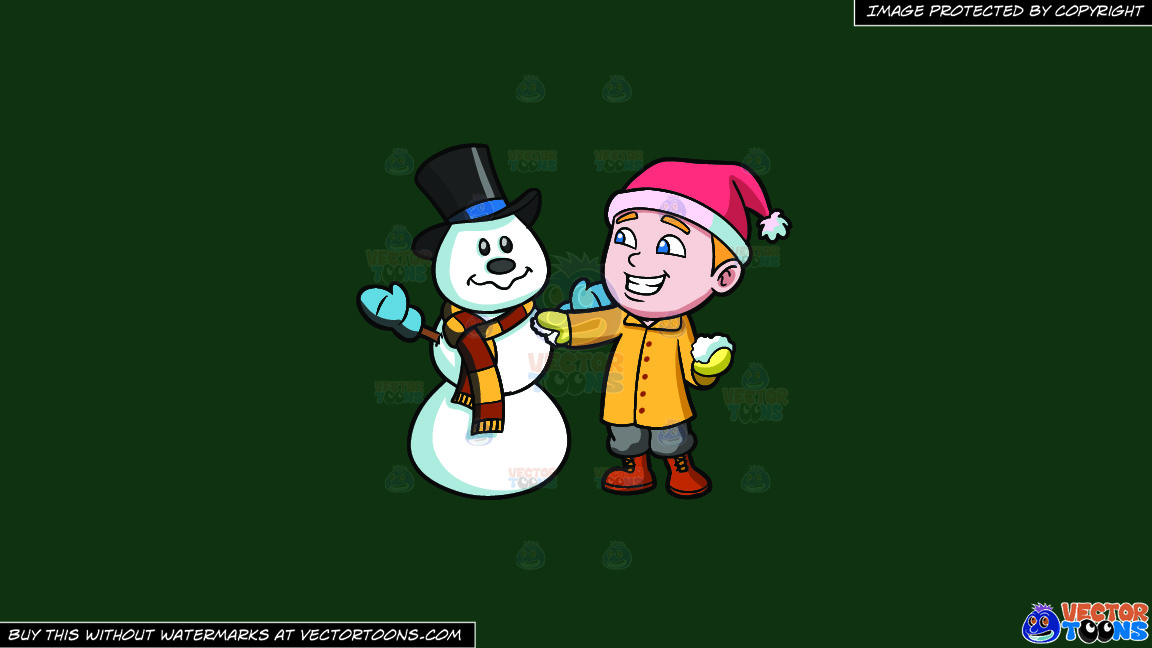 A Boy Patching Up A Snowman On A Solid Dark Green 093824 Background thumbnail