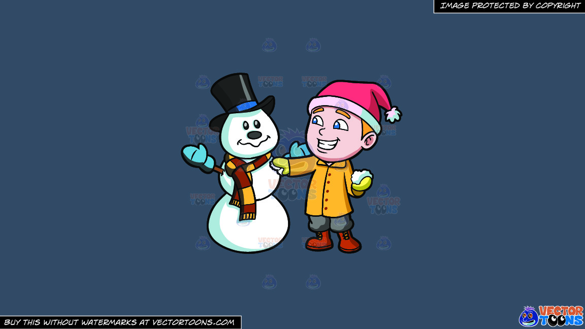 A Boy Patching Up A Snowman On A Solid Metal Grey 465362 Background thumbnail