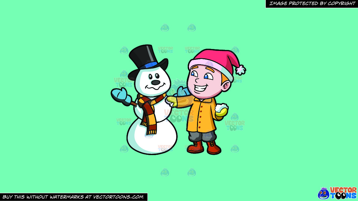 A Boy Patching Up A Snowman On A Solid Turquiose 41ead4 Background thumbnail
