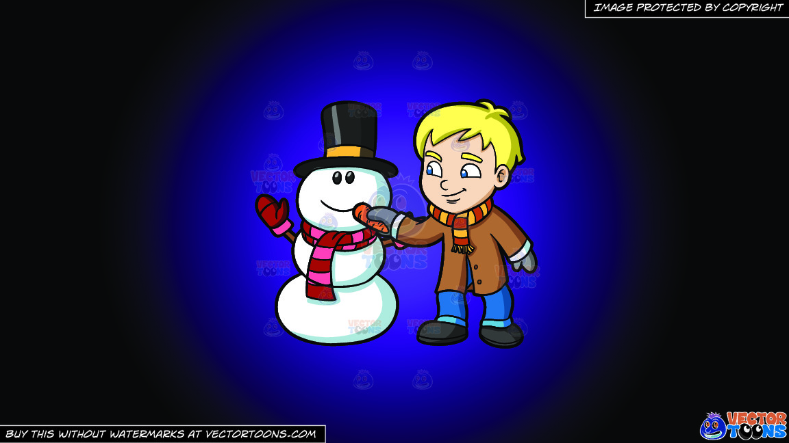 A Boy Placing Carrot Nose On A Snowman On A Purple And Black Gradient Background thumbnail