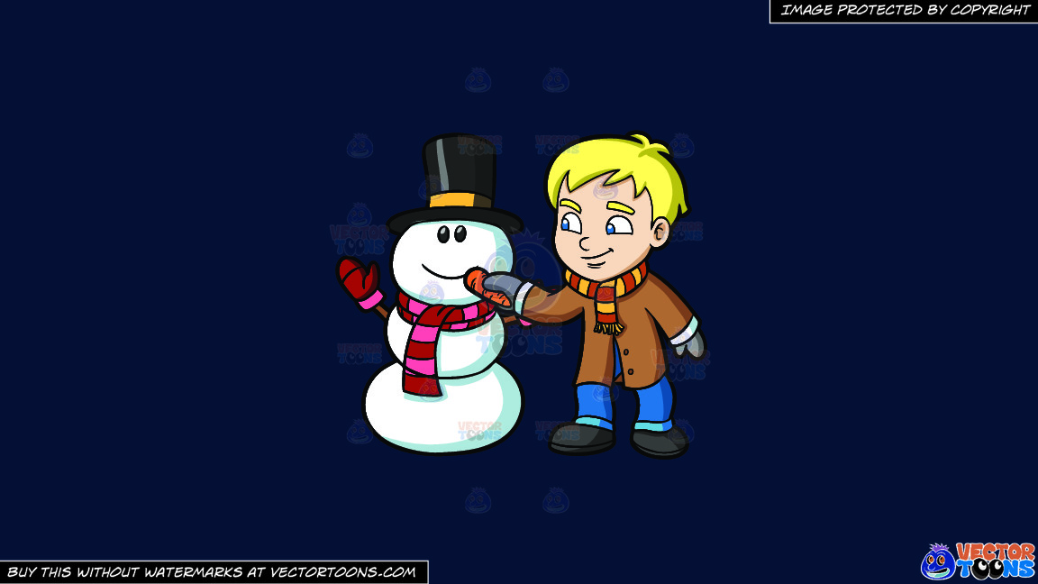 A Boy Placing Carrot Nose On A Snowman On A Solid Dark Blue 011936 Background thumbnail