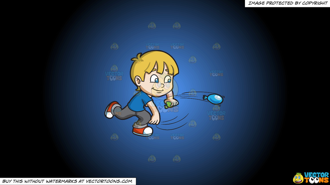 A Boy Playing With Water Balloons On A Blue And Black Gradient Background thumbnail