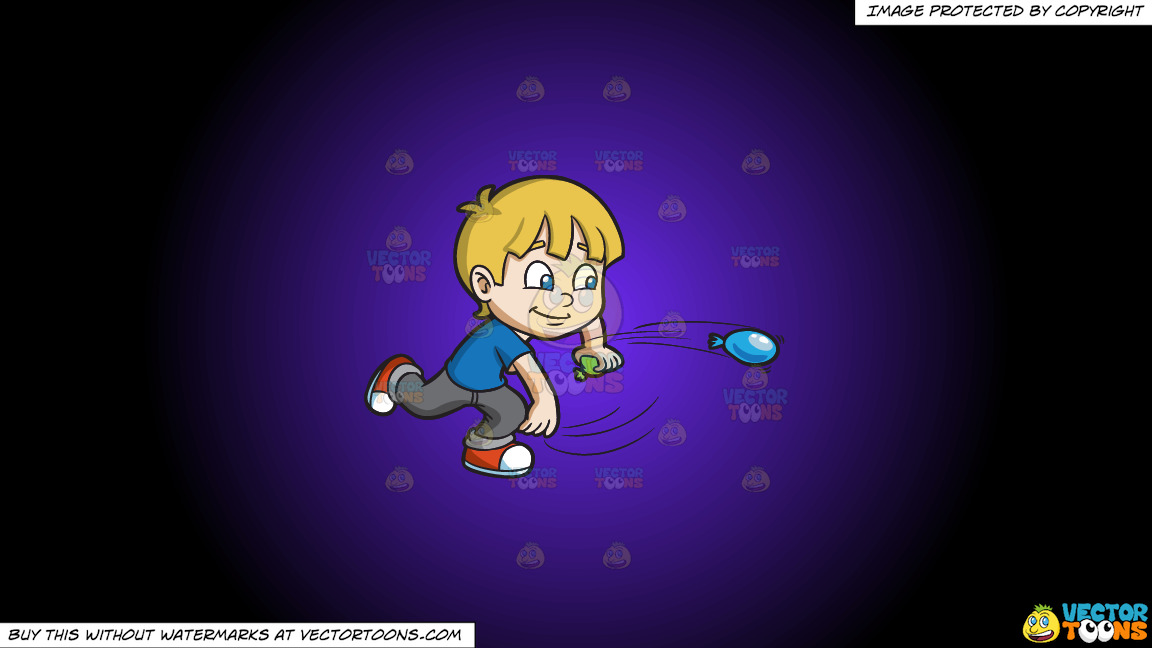 A Boy Playing With Water Balloons On A Purple And Black Gradient Background thumbnail