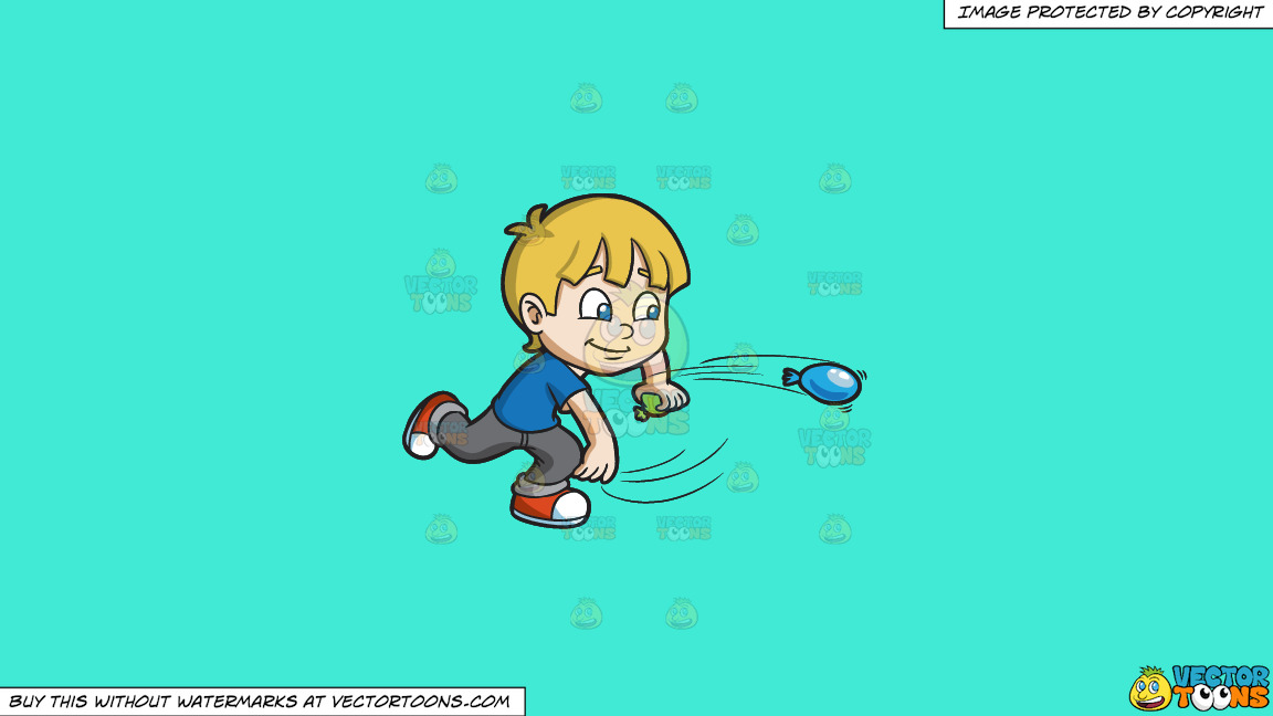 A Boy Playing With Water Balloons On A Solid Turquiose 41ead4 Background thumbnail