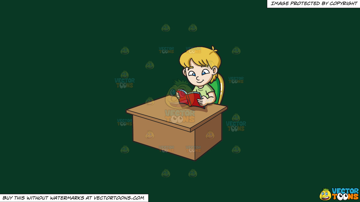 A Boy Reading A Book On A Solid Dark Green 093824 Background thumbnail