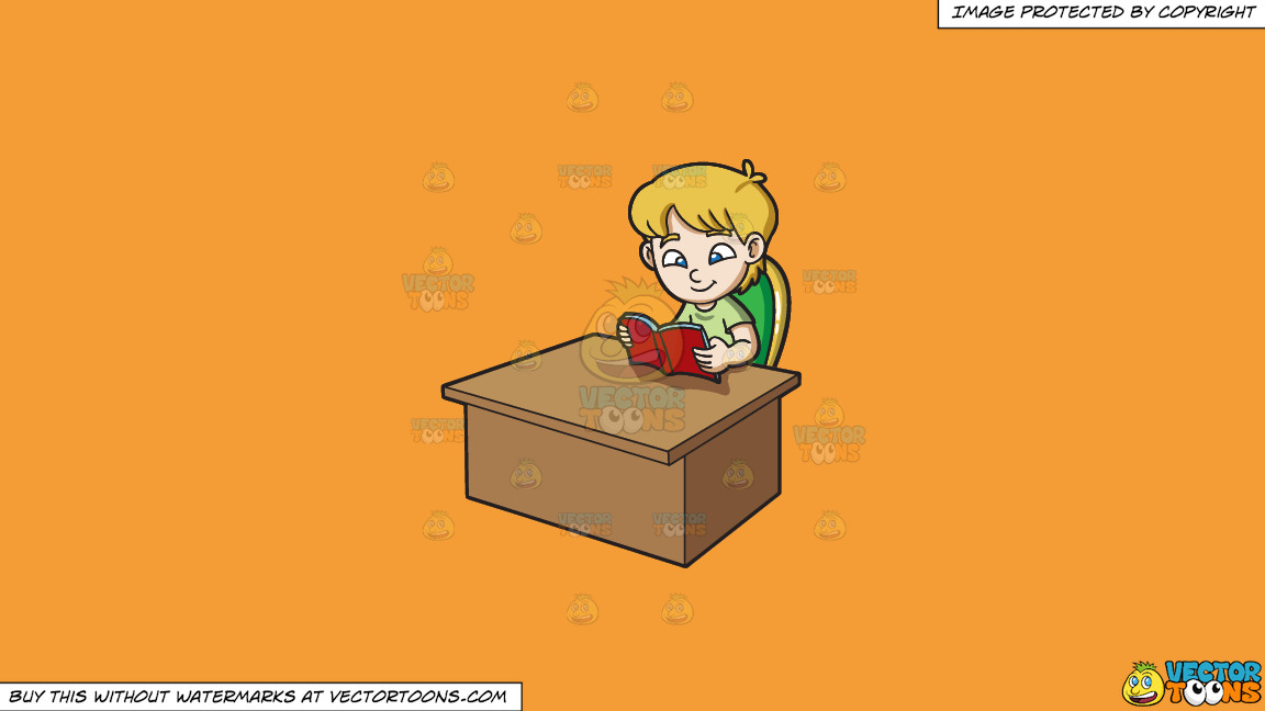 A Boy Reading A Book On A Solid Deep Saffron Gold F49d37 Background thumbnail