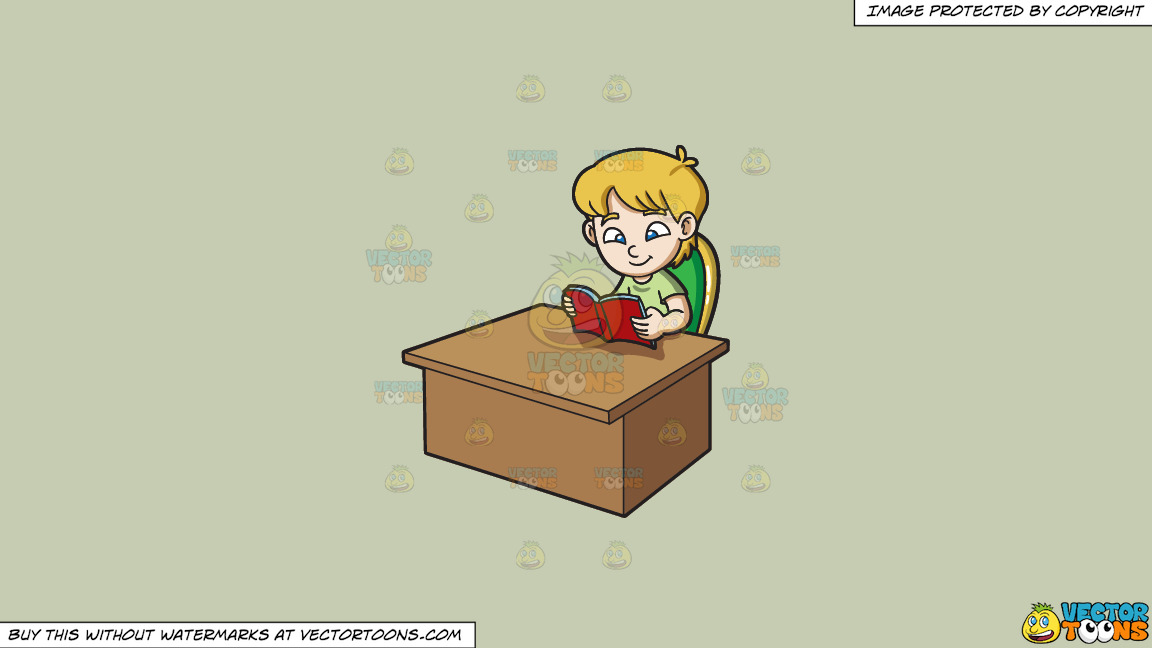 A Boy Reading A Book On A Solid Pale Silver C6ccb2 Background thumbnail