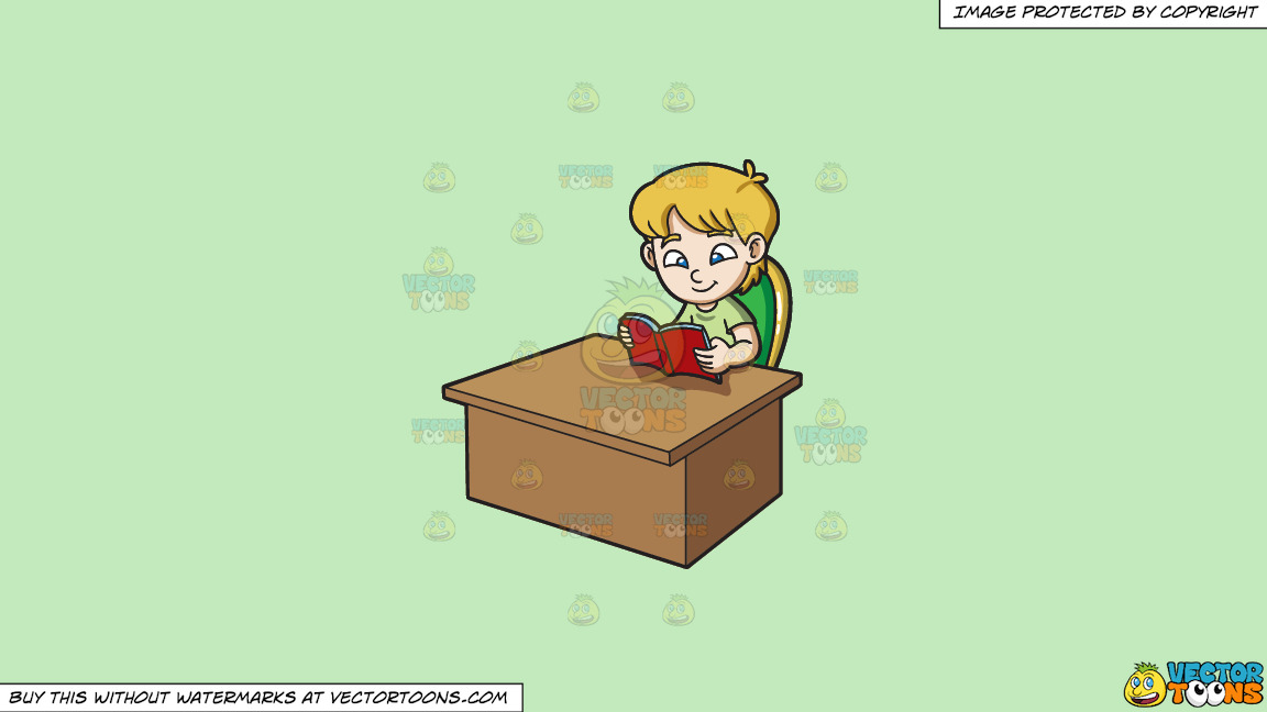 A Boy Reading A Book On A Solid Tea Green C2eabd Background thumbnail