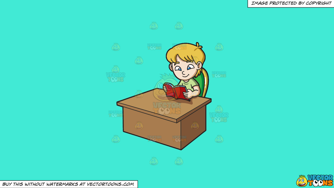 A Boy Reading A Book On A Solid Turquiose 41ead4 Background thumbnail