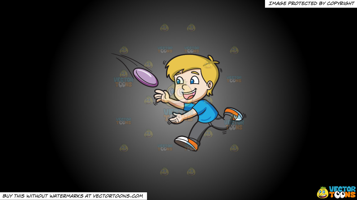 A Boy Runs To Catch A Flying Frisbee On A Grey And Black Gradient Background thumbnail