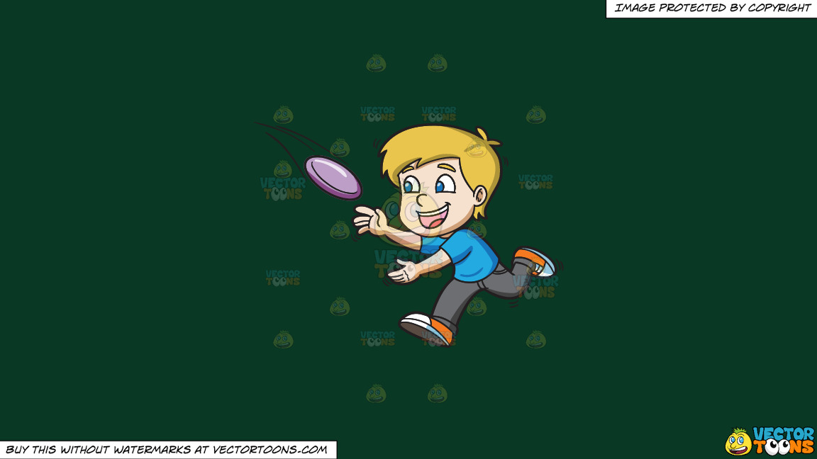 A Boy Runs To Catch A Flying Frisbee On A Solid Dark Green 093824 Background thumbnail