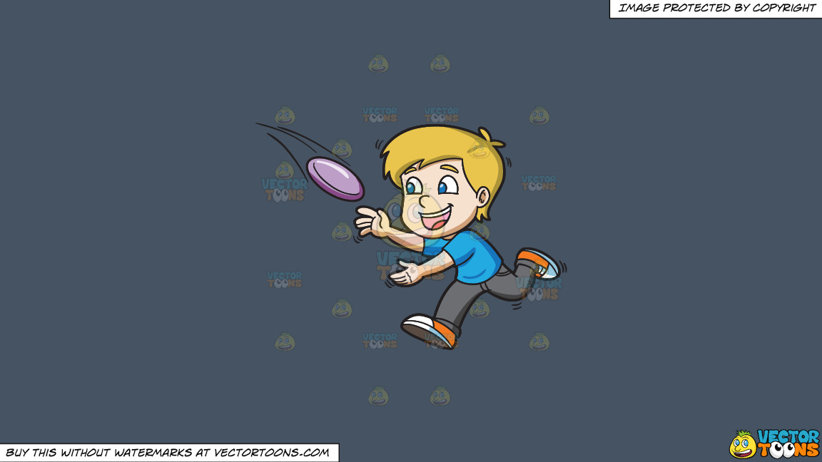 A Boy Runs To Catch A Flying Frisbee On A Solid Metal Grey 465362 Background thumbnail