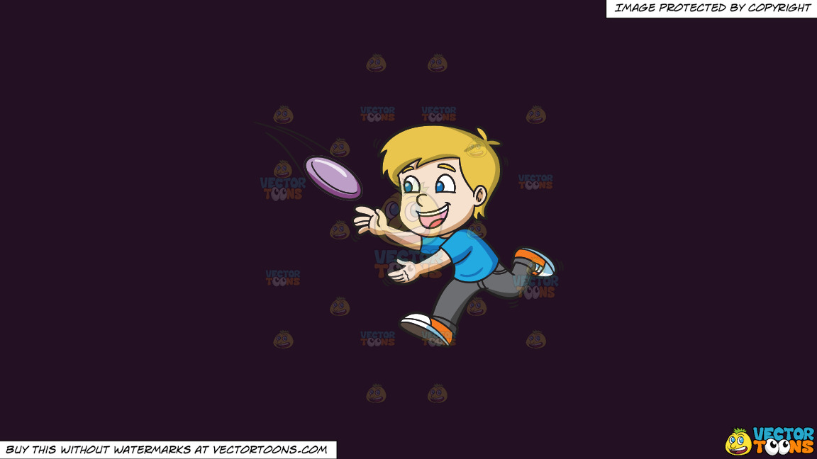 A Boy Runs To Catch A Flying Frisbee On A Solid Purple Rasin 241023 Background thumbnail
