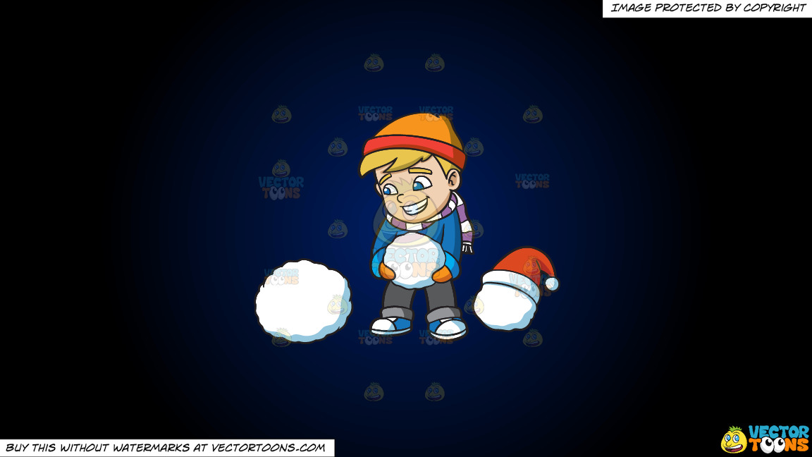 A Boy Stacking Snowballs To Build A Snowman On A Dark Blue And Black Gradient Background thumbnail