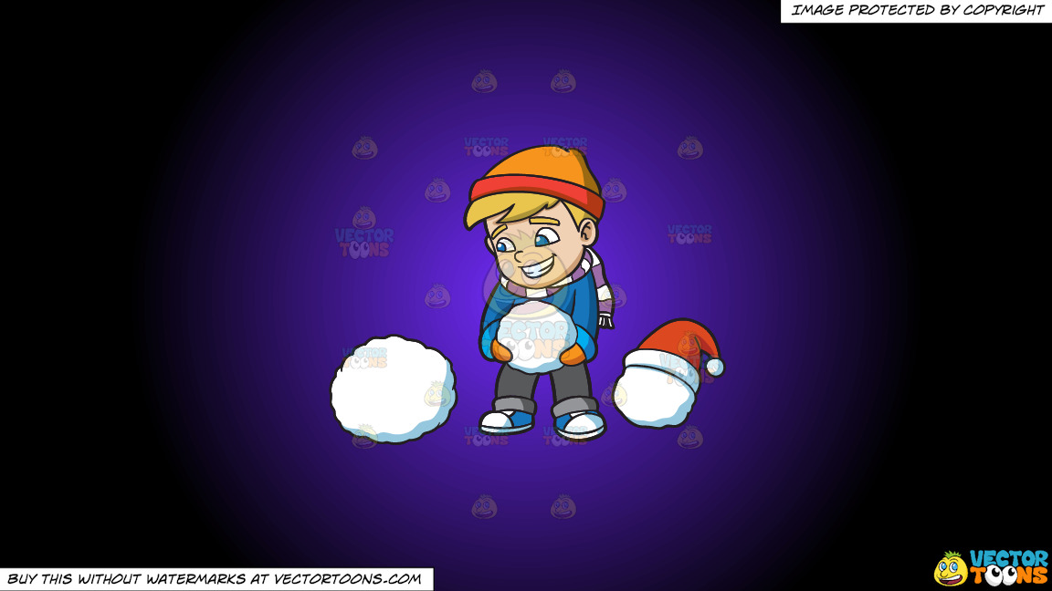 A Boy Stacking Snowballs To Build A Snowman On A Purple And Black Gradient Background thumbnail