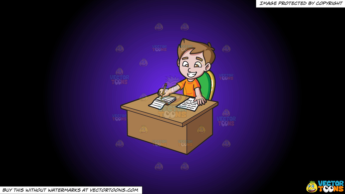 A Boy Taking Down Notes On A Purple And Black Gradient Background thumbnail