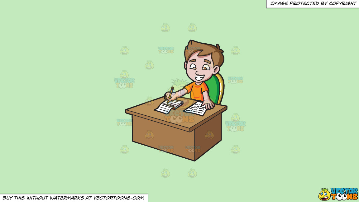 A Boy Taking Down Notes On A Solid Tea Green C2eabd Background thumbnail