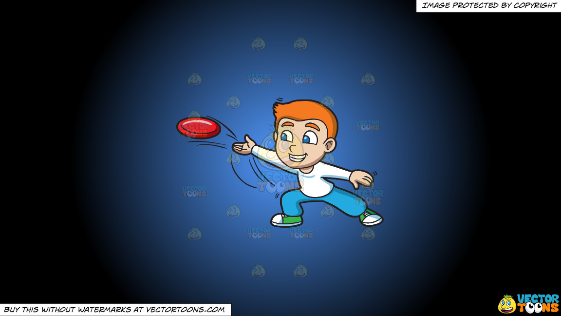 A Boy Throwing A Frisbee On A Blue And Black Gradient Background thumbnail