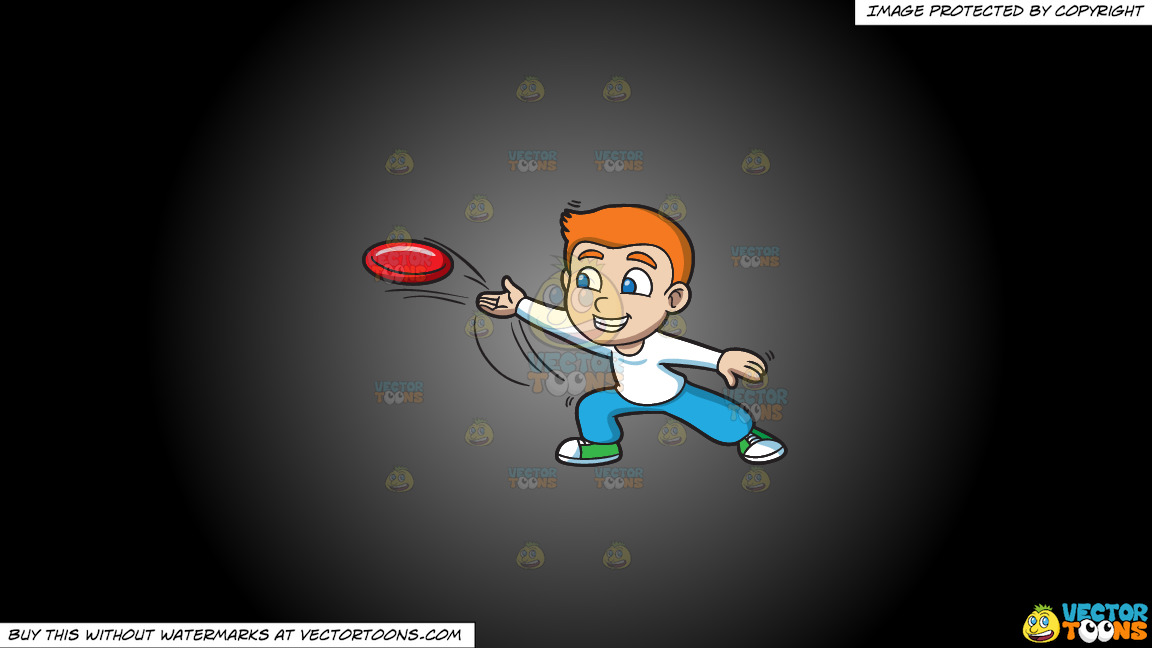 A Boy Throwing A Frisbee On A Grey And Black Gradient Background thumbnail
