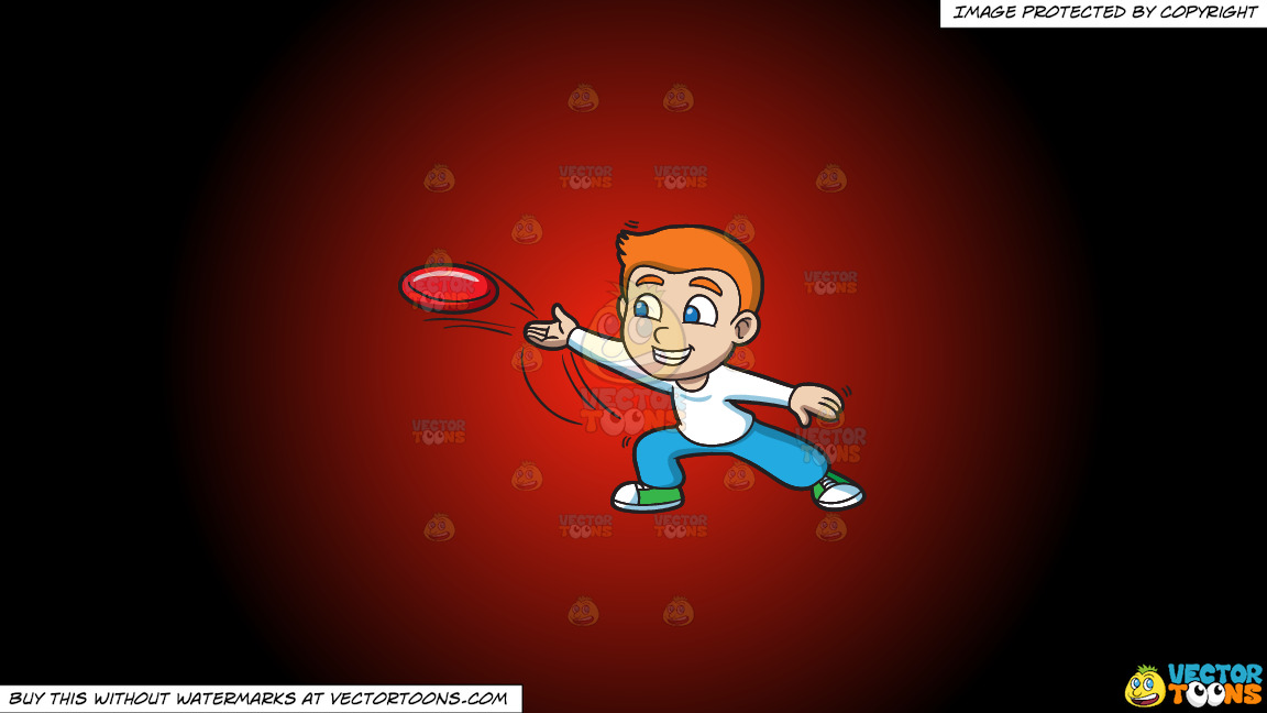 A Boy Throwing A Frisbee On A Red And Black Gradient Background thumbnail