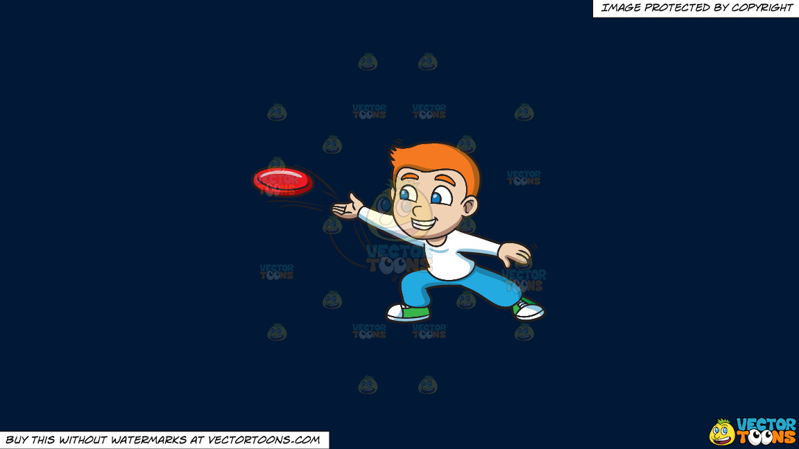 A Boy Throwing A Frisbee On A Solid Dark Blue 011936 Background thumbnail