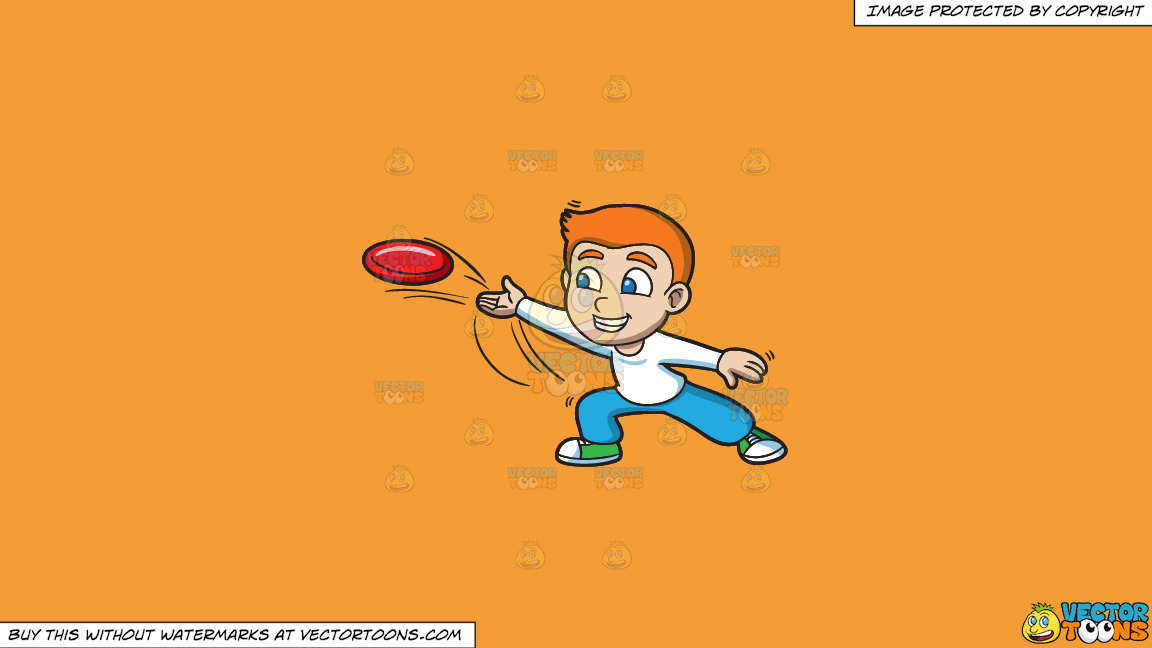 A Boy Throwing A Frisbee On A Solid Deep Saffron Gold F49d37 Background thumbnail