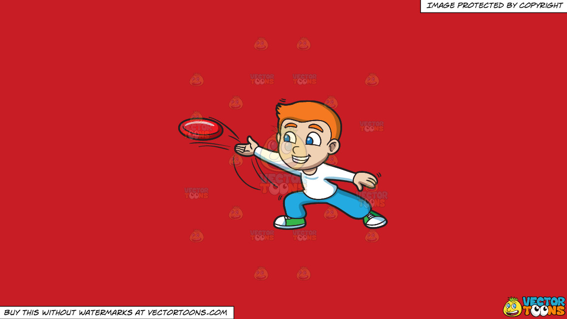 A Boy Throwing A Frisbee On A Solid Fire Engine Red C81d25 Background thumbnail