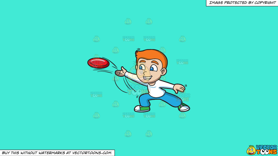 A Boy Throwing A Frisbee On A Solid Turquiose 41ead4 Background thumbnail