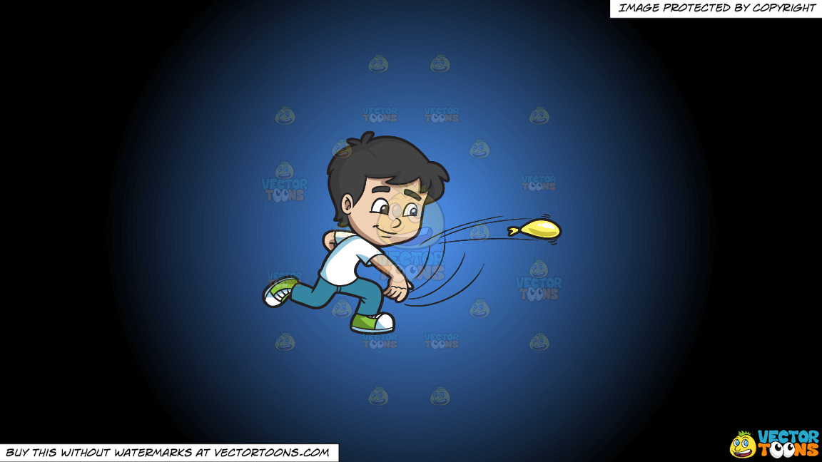 A Boy Throws A Water Balloon On A Blue And Black Gradient Background thumbnail