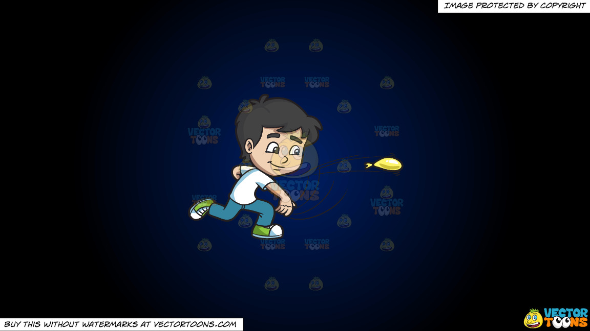 A Boy Throws A Water Balloon On A Dark Blue And Black Gradient Background thumbnail