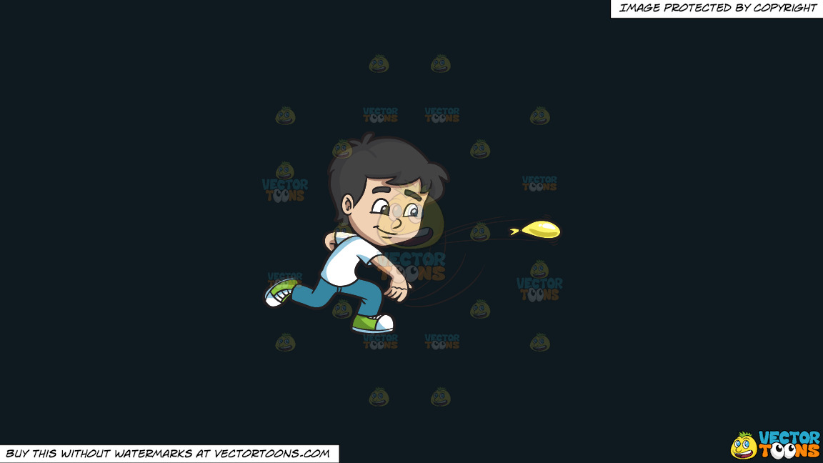 A Boy Throws A Water Balloon On A Solid Off Black 0f1a20 Background thumbnail