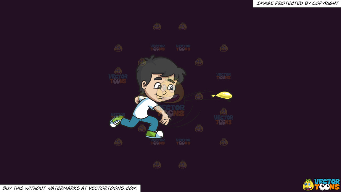 A Boy Throws A Water Balloon On A Solid Purple Rasin 241023 Background thumbnail