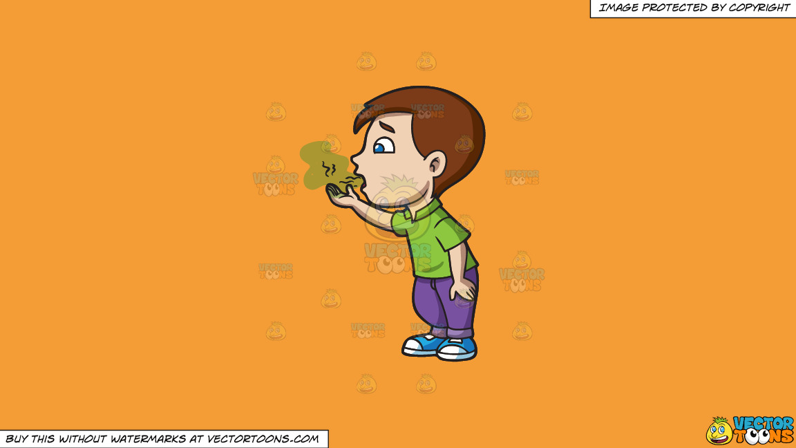 A Boy Trying To Smell His Bad Breath On A Solid Deep Saffron Gold F49d37 Background thumbnail