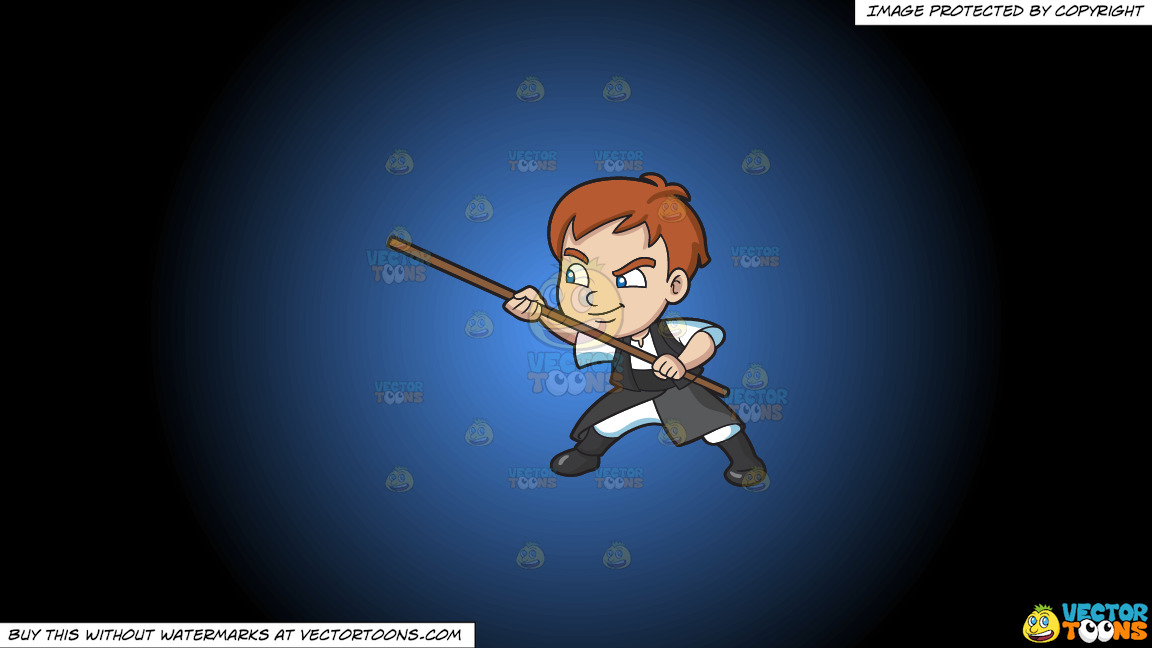 A Boy Using A Stick For Defense On A Blue And Black Gradient Background thumbnail