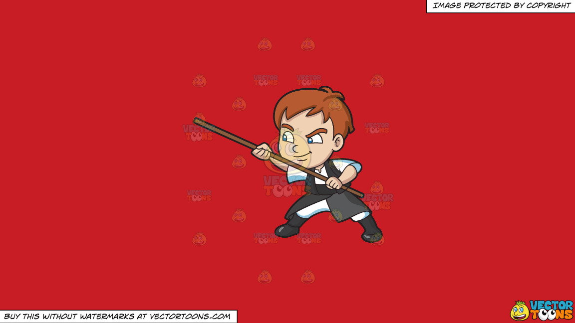 A Boy Using A Stick For Defense On A Solid Fire Engine Red C81d25 Background thumbnail