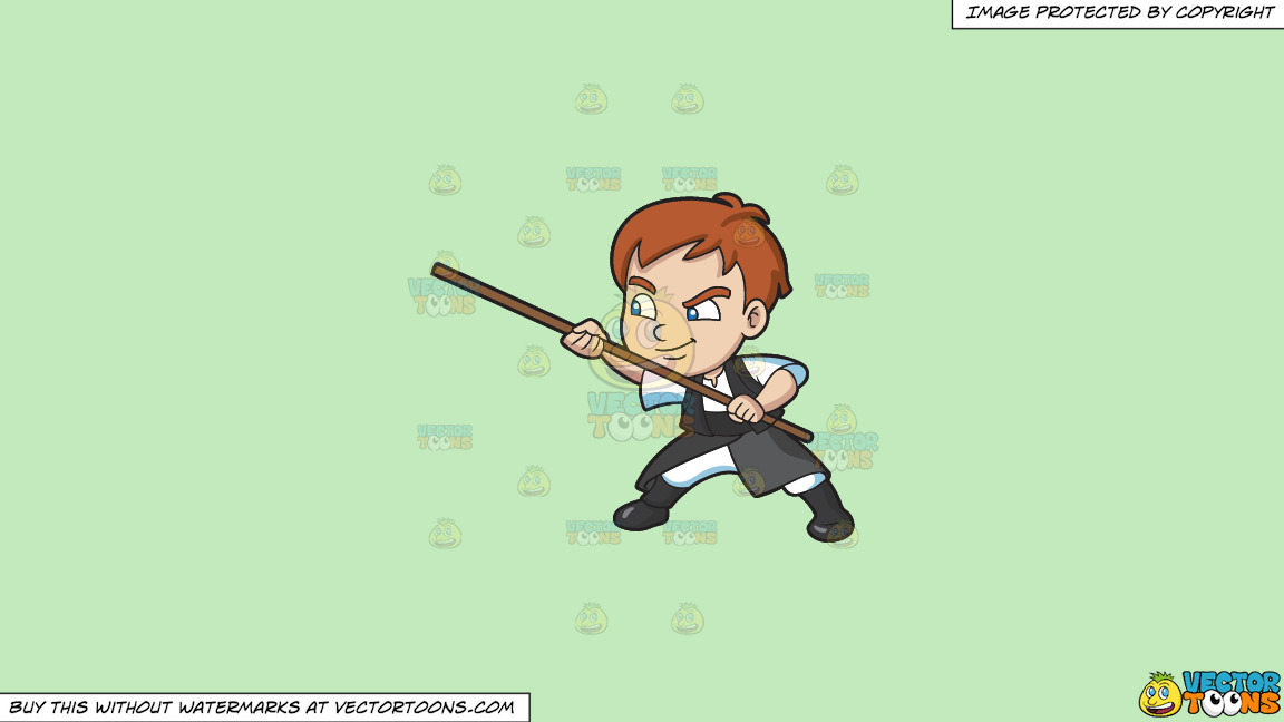 A Boy Using A Stick For Defense On A Solid Tea Green C2eabd Background thumbnail